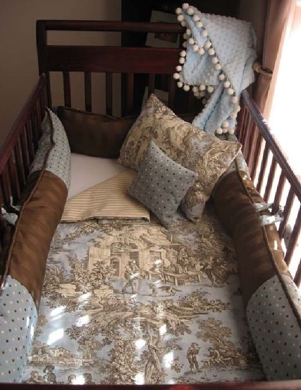 Simple baby boy bedding in brown