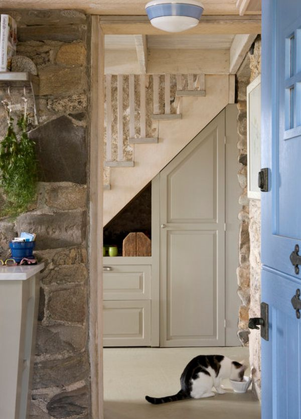 Simple storage space surrounded by stone walls