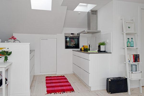 Small Attic apartment – white kitchen design