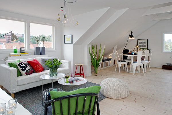 Small Attic apartment white living room Scandinavian Spacious Attic Apartment Sizzles with Pristine Charm