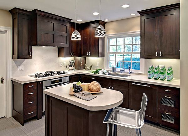 small kitchen remodeling with modern dark brown and
