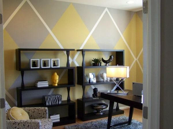 Snazzy and colorful home office that blends in with the living space