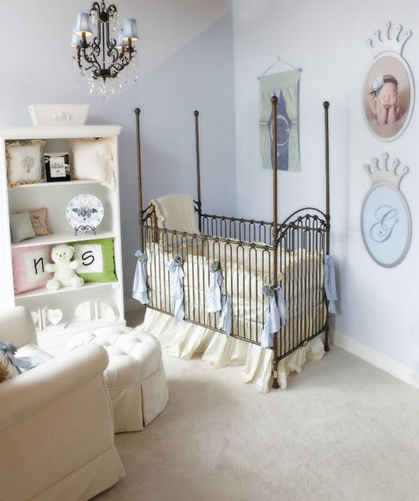 Soothing baby bedroom complete with plush bedding