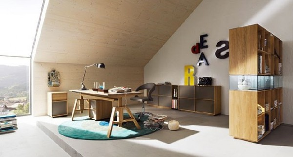 Sophisticated and trendy teen room in the attic with workspace