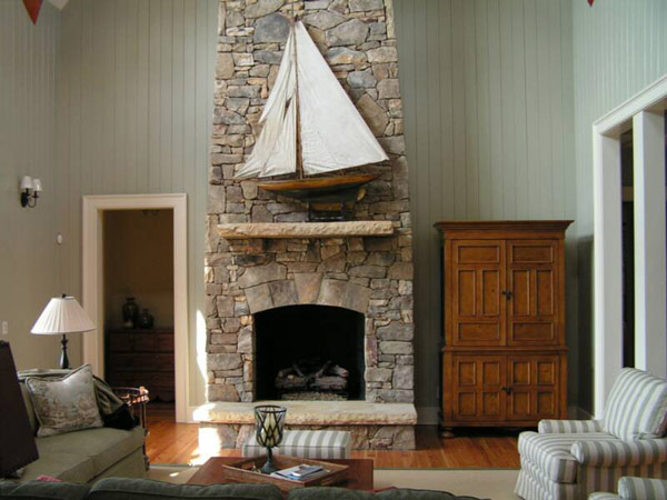 Stone fireplace with Nautical overtones