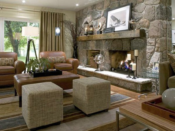 ... in gallery Stone fireplace with large ...