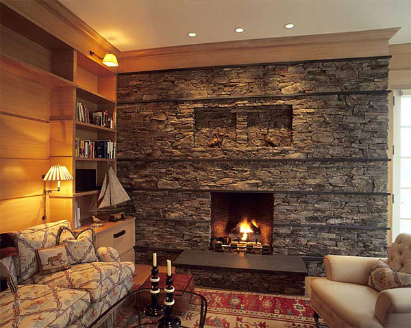 Stone fireplace with warm hues