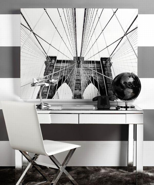 Streamlined modern office space in black and white
