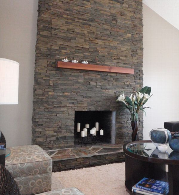 Stunning stone fireplace decoist - Large contemporary stone fireplace ...
