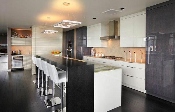 Ikea Kitchen Island Toronto ~ Stylish black and white kitchen with raised bar