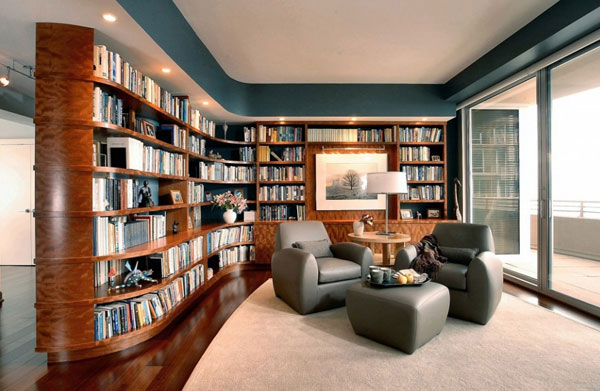 View in gallery Space conscious home library setting with stylish furniture  View in gallery ...