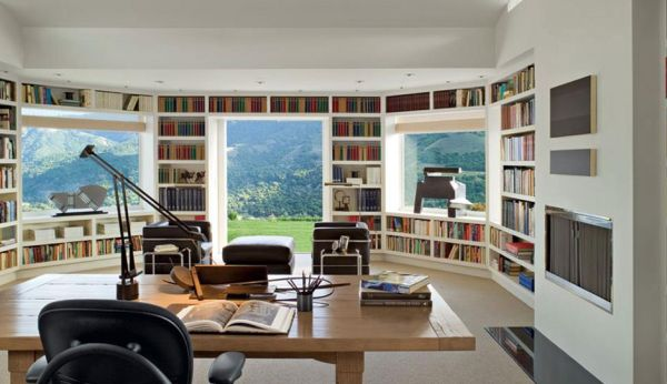 Summer home library that comes along with gorgeous views