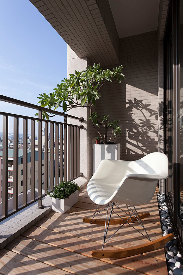 Taiwanese Contemporary Apartment – small balcony with plants