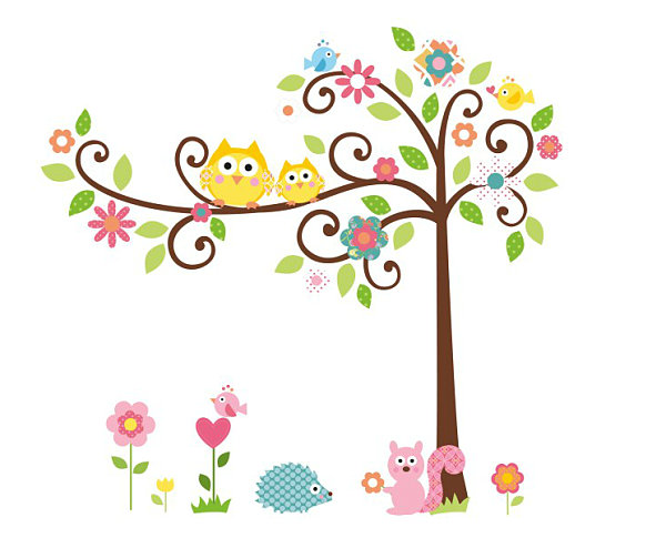 Tree and woodland creature nursery wall decal pack