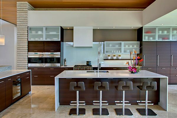 Two tone cabinets and large kitchen island