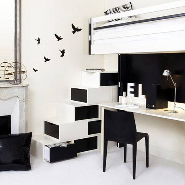 Ultra minimalist staircase storage space in black and white
