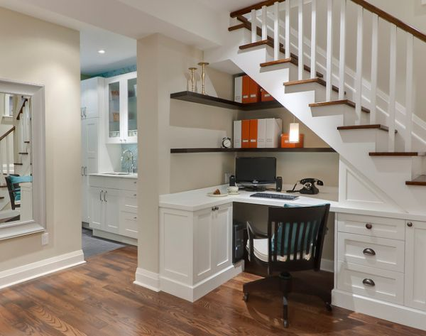 Use the space under the stairs to sport compact  home office shelves