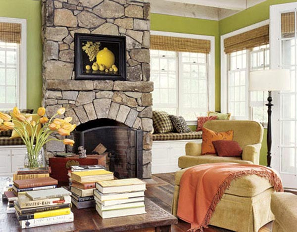Vibrant fireplace in compact interiors