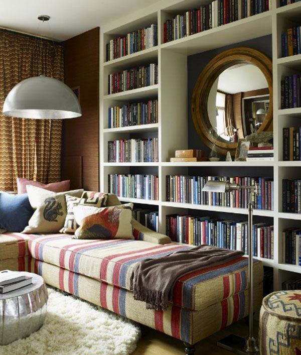 Vibrant home library with a traditional touch
