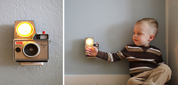 Vintage camera turned wall lamp