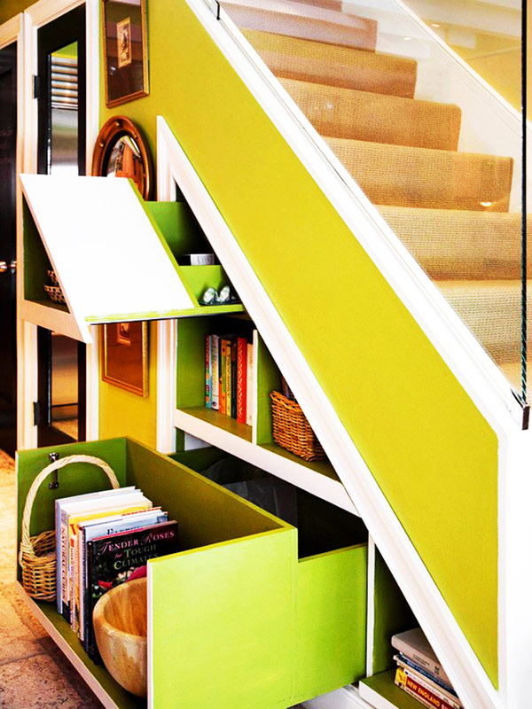 Vivacious and refreshing storage space under stairs
