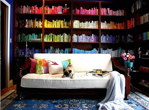 Vivacious home library full of dazzling color and vivid shades