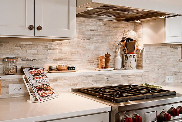 Walker Zanger Sienna Silver Travertine kitchen backsplash with shelves