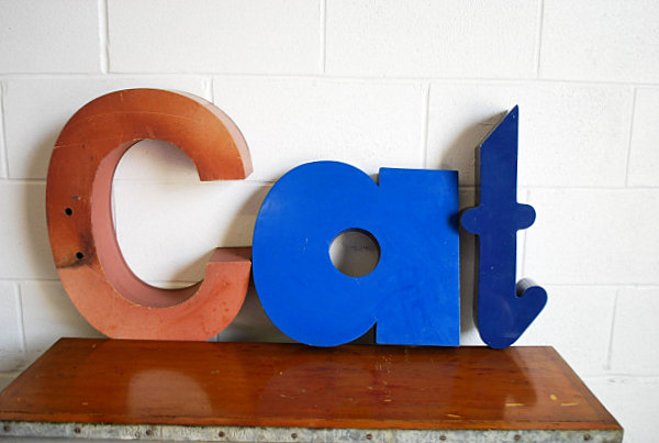 Wall art with metal letters