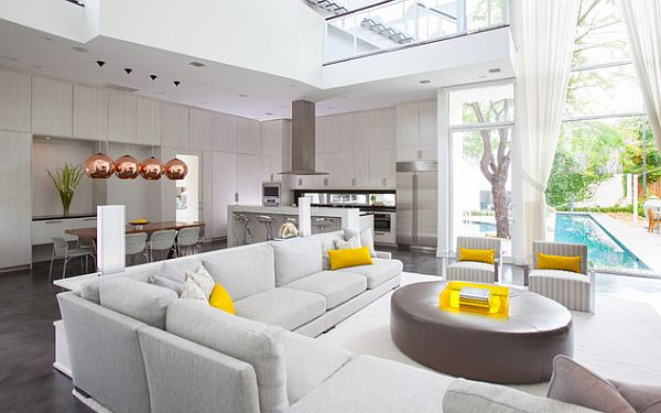 White contemporary living room decor with yellow accents for Living room yellow accents