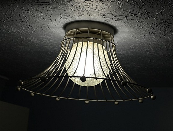 View in gallery Wire baskets turned dome pendant light fixture ...
