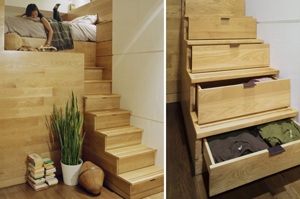 Wooden staicase with in-built storage space