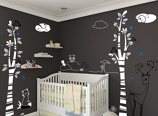 View In Gallery Woodland Scene Nursery Wall Decals