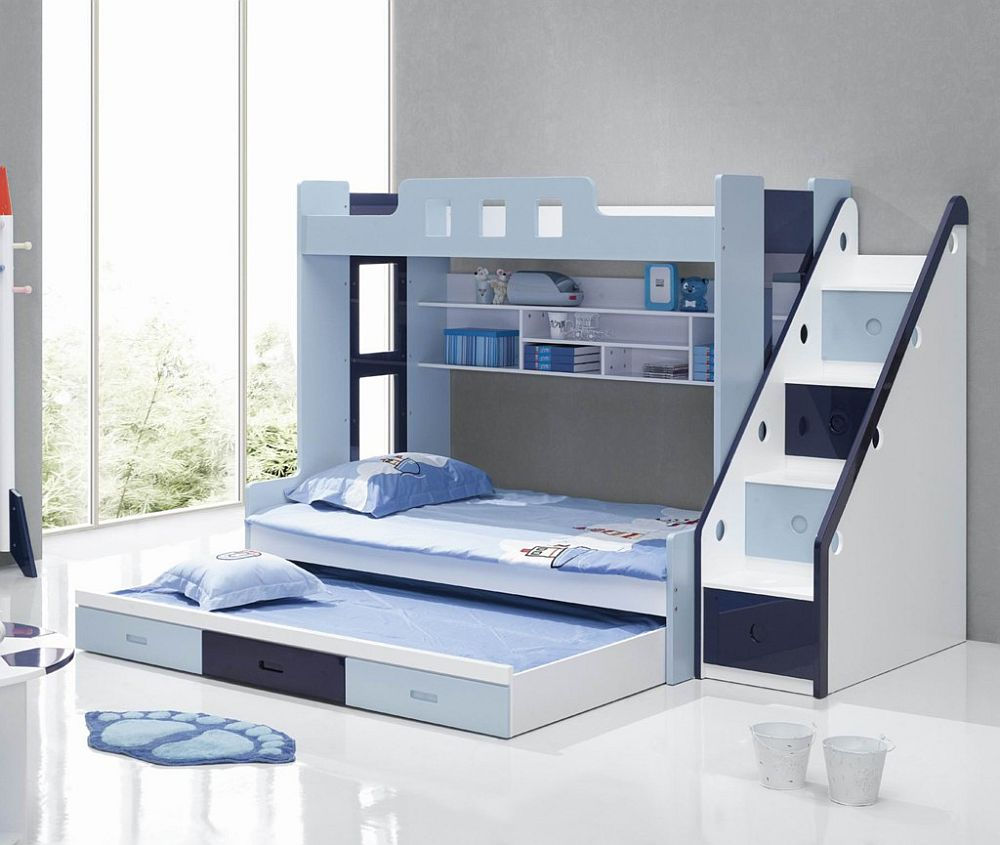 Bunk beds for kids with stairs - View In Gallery Blue And White Bunk Beds With Stairs