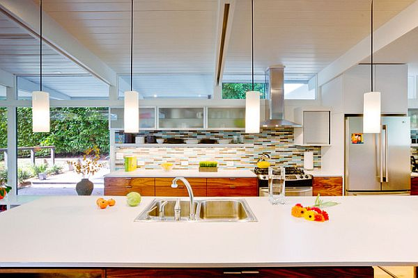 bright kitchen with brown and blue backsplash design