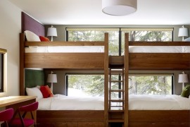 bunk bed with stairs and ladder