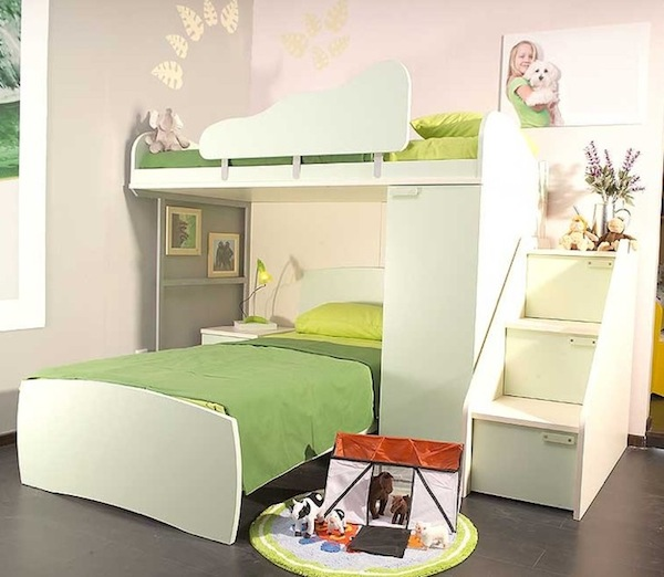 bunk bed with stairs self assembly green