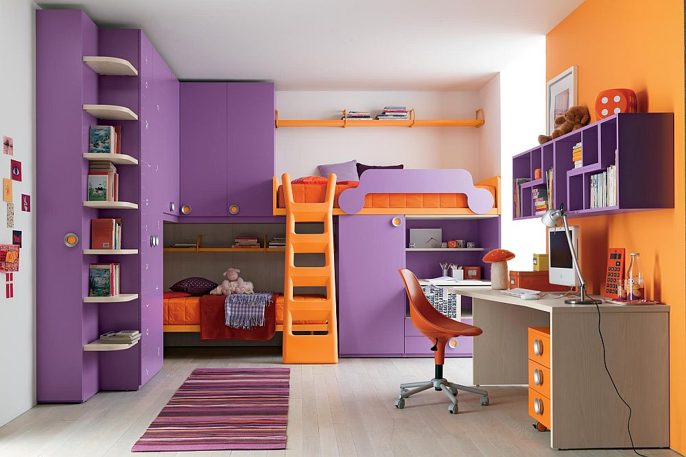 colorful kids bedroom with bunks beds and ladder