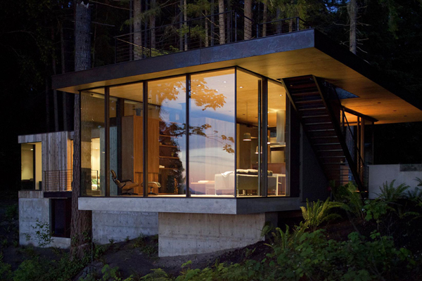 concrete and glass woods retreat Scenic Weekend Getaway: Case Inlet Retreat in Washington