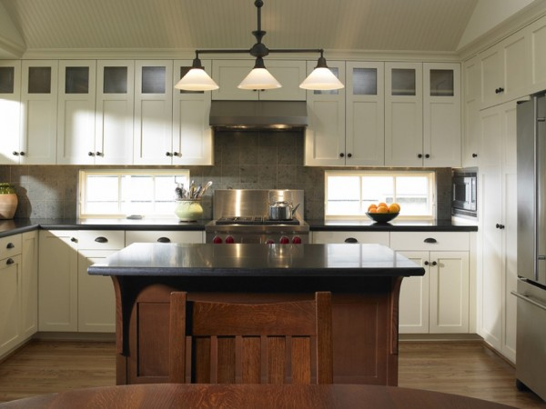 How to bring artisan craftsman details into your home for White mission style kitchen cabinets