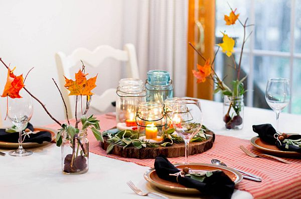 decorating with autumn leaves