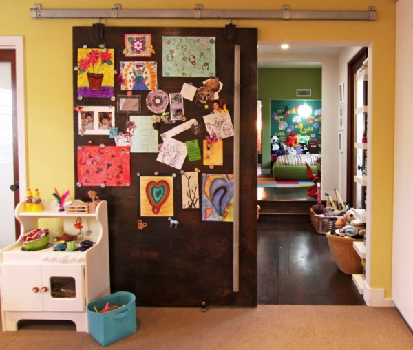 displaying kids artwork barn door