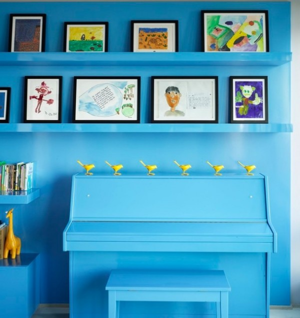 displaying kids artwork piano blue