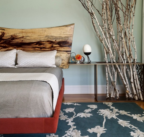 dramatic headboard rustic wood