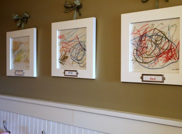 Displaying kids artwork in a sophisticated fashion for Displaying pictures in your home