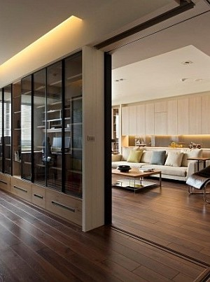modern apartment with retractable interior wall
