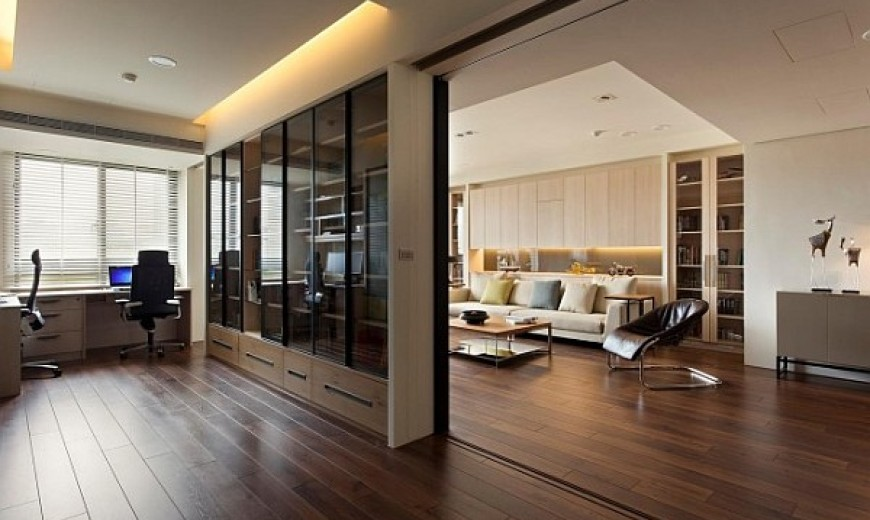 Apartment Office modern apartment with retractable glass walls for home office area