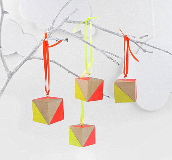 neon geometric hanging ornaments