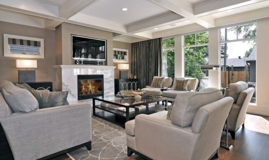 neutral gray black living room