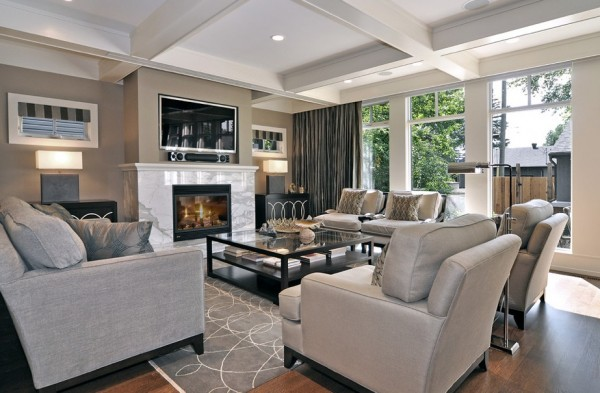 neutral gray black living room