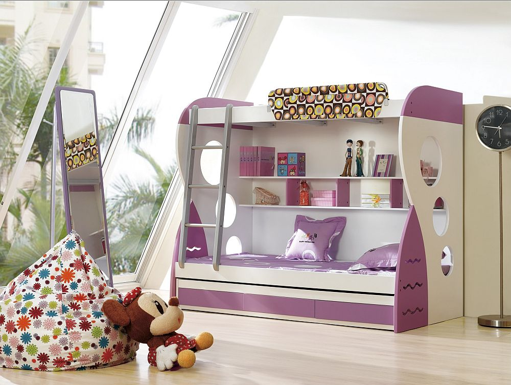 purple and white bunk beds with ladder